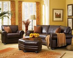 Living Room Decor With Brown Leather Sofa Yellow And Brown Living Room Decorating Ideas
