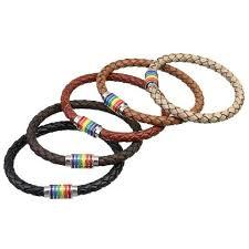 braided leather bracelet women images Pride rainbow magnetic genuine braided leather bracelets pride jpg
