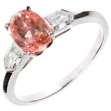 padparadscha sapphire engagement ring pink padparadscha sapphire platinum ring at 1stdibs