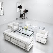 white living room furniture in a white photography studio with