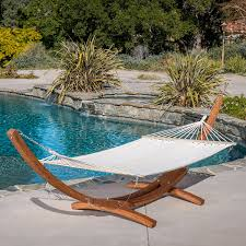 amazon com weston larch wood u0026 canvas hammock w stand garden