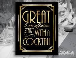 art deco cocktail party printable sign gatsby wedding