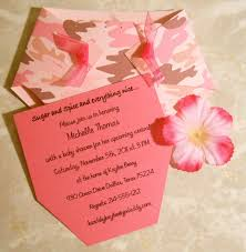 diaper shaped pink camo baby shower invitation