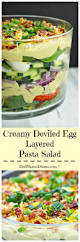 Best Pasta Salad Recipe by Creamy Deviled Egg Layered Pasta Salad A Dish Of Daily Life