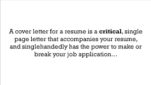 what is a cover letter for a resume youtube