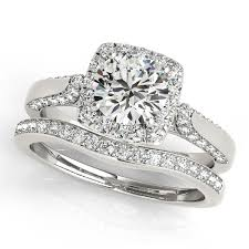 engagement jewelry sets diamond accented square halo ring band bridal set 14k w gold 1 25ct