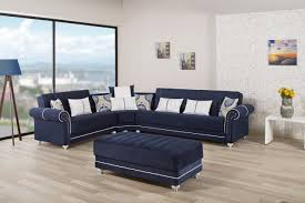 Blue Leather Sectional Sofa Royal Home Sectional Sofa In Dark Blue Fabric By Casamode