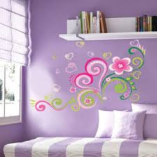 diy multi color mural flowers wall stickers home decor living room
