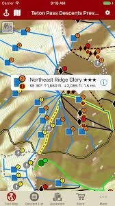 Map Your Run Teton Pass Descents Backcountry Skiing Guidebook