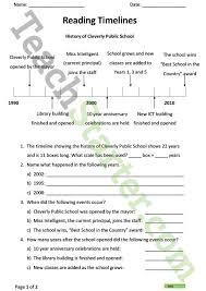 reading and constructing timelines worksheets teaching resource