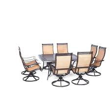 Swivel Rocker Patio Dining Sets Hanover Manor 9 Square Patio Dining Set With Eight Swivel