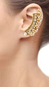 ear earring buy the jewelbox 22k gold plated festive american diamond pearl