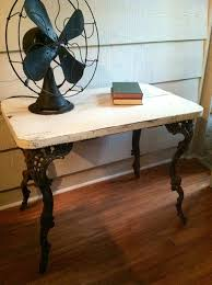 Wrought Iron And Wood Nightstands Vintage Table With Wrought Iron Legs And Wooden Top Painted