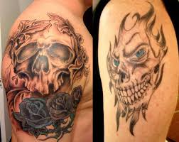 mexican style skull and rose arm tattoo design in 2017 real photo