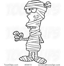 cartoon outline halloween mummy holding up a finger 56672 by ron