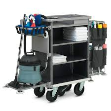chariot femme de chambre chariot de ménage en acier professionnel premium zp clean