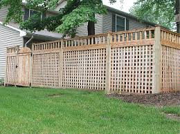 wood lattice wall wood square lattice fence with spindle topper by elyria fence