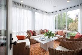 Glass For Sunroom Modern Curtain Panels Sunroom Transitional With Glass Wall Orange