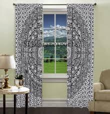 Living Room Curtains Traditional Indian Black Elephant Mandala Window Curtains Living Room Drape