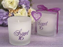 candle party favors sweet 16 birthday glass pink purple silver glitter tealight candle