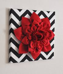 Wall Flower Decor by Red Wall Flower Red Dahlia On Black And White Chevron 12 X12