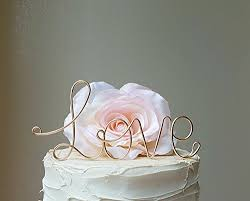gold wedding cake topper wedding cake topper in champagne gold wire finish