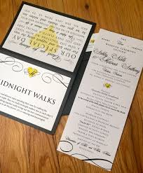 modern black white and yellow die cut wedding invitations