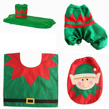 home decoration christmas elf lovely toilet seat cover and rug
