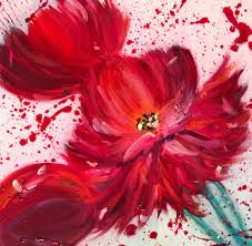 red peony abstract flower painting splatter painting fine art