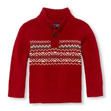 toddler boys sleeve fair isle button mock neck sweater the