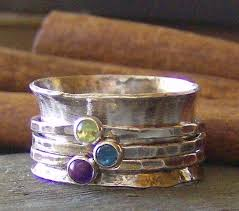 mothers day rings with birthstones sted birthstone sterling silver spinner ring mothers ring