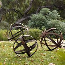 decor of garden and yard decor iron sphere rusted in garden