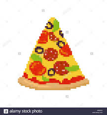 pizza pixel art piece of pizza is pixelated fast food isolated