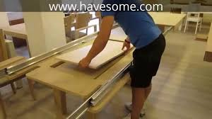 Table With Slide Out Leaves Mega Extendable Dining Table Youtube