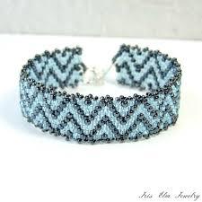 glass beads bracelet images Light blue zig zag seed bead bracelet size small iris elm jpg