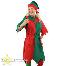 ladies elf costume adults christmas fancy dress xmas choose