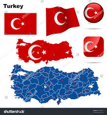 turkey vector set detailed country shape stock vector 47567881