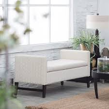 belham living camille upholstered backless storage bench neutral