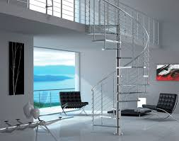 perfect saving space spiral staircase design with thick glass