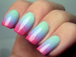 muggle manicures nail art pastel gradient with neon tips mini