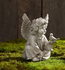 cherub with bird sign statuary garden rock yard ornament statue