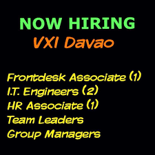 front desk jobs hiring now job hunt davao bpo davao jobs vxi davao is hiring