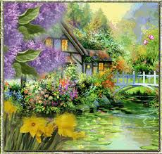 beautiful house on the lake painting animated pictures photos