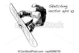 vectors of sketch of snow board man riding winter sport