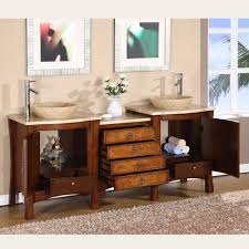 silkroad 72 inch double sink bathroom vanity travertine countertop