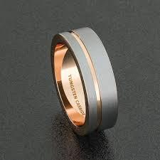 wedding bans bande de mariage mens 8mm bague en tungstène blanc brossé avec or