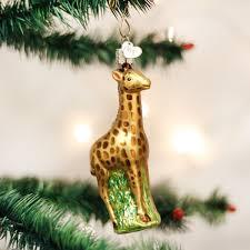 world baby giraffe glass blown ornament