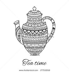 vintage ornate teapot hand drawing kettle stock vector 277532618