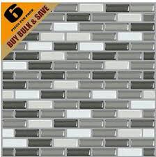 High Quality Mosaic Peel And Stick Wall Tile In Random Brick Grey - Self stick backsplash tiles