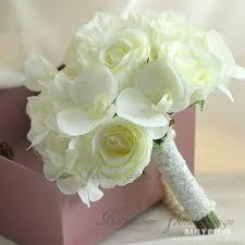 bridesmaid bouquet new artificial white hydrangea phalaenopsis silk flowers